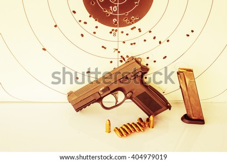 Guns , ammunition,and target ammunition vintage. - stock photo