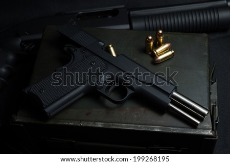 Guns and ammunition - stock photo