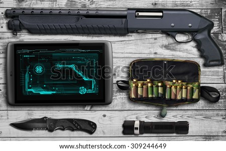 Guns on the table. Prepare for battle - stock photo