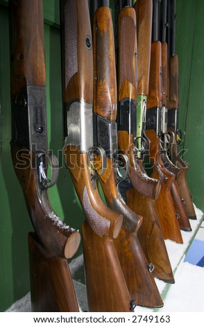 Guns waiting shooters during competitions - stock photo