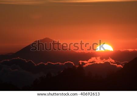 Gunung Agung (Volcano) Bali. View from Rinjani (Volcano) Lombok. - stock photo