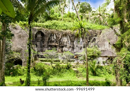 Gunung Kawi Temple and Candi (shrines) in  jungle at Bali, Indonesia