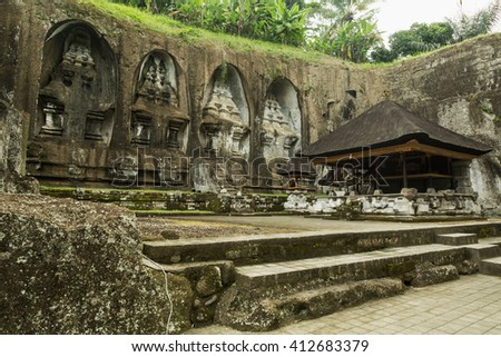 Gunung Kawi Temple. Cave in Gunug Kawi is an ancient temple situated in Pakerisan River, near Tampaksiring village in Bali.  - stock photo