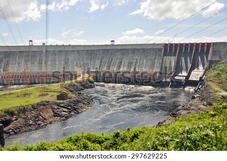 Guri Dam (Central Hidroelectrica Simon Bolivar), in southern Venezuela. With its 10.000 MW of installed capacity it is the fourth largest power station in the world. - stock photo