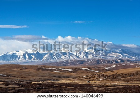 Gurla Mandhata is the highest peak of the Nalakankar Himal, a small subrange of the Himalaya. It lies in Burang County of the Ngari Prefecture in the Tibet Autonomous Region of China - stock photo