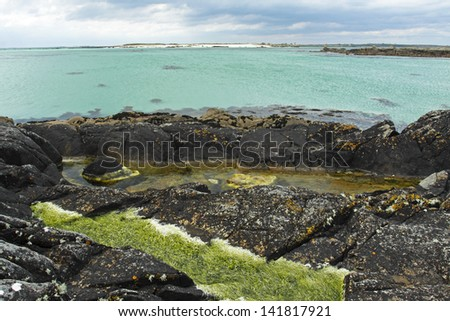 Gurteen beach in Connemara region of Galway county in Ireland. - stock photo