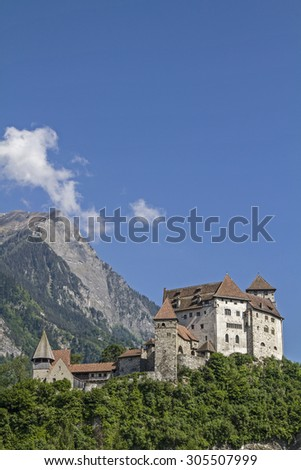 Gutenberg Castle is a medieval castle high over  the town of Balzers in Liechtenstein - stock photo