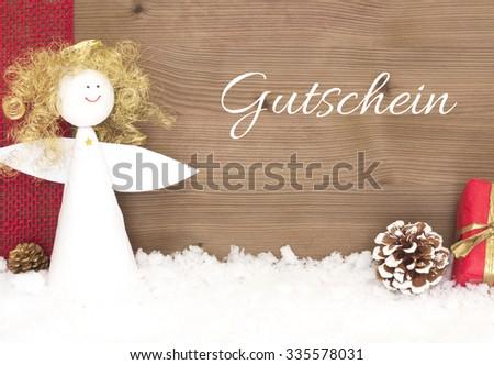 Gutschein - voucher in german - stock photo