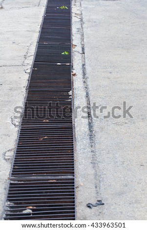 Gutters drain grate - stock photo