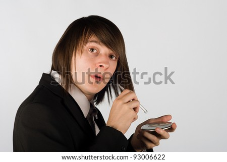 Guy  caught about to snort a line of cocaine - stock photo