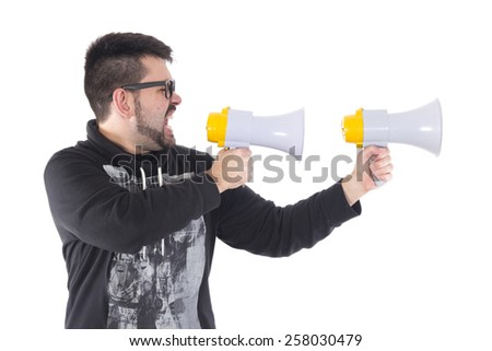 Guy crying with two megaphone - stock photo