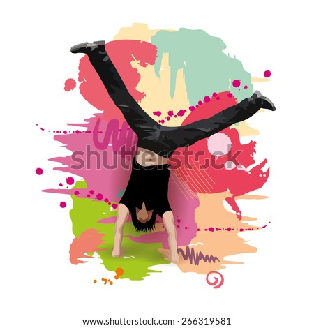 Guy doing summersault on colorful paint blots background. Boy standing upside down.  - stock photo