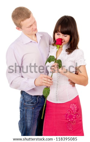 guy give girl Rosa, makes a proposal isolated on white background