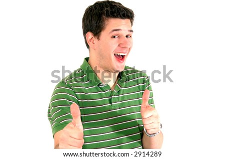 Guy giving thumbs up - stock photo
