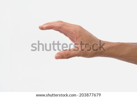 Guy hand show squeez symbol on isolated white background