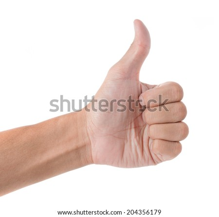 guy hand show thumb up symbol isolated on white background