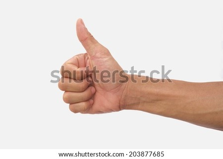 Guy hand show thumb up symbol on isolated white background
