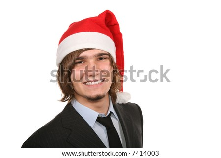 guy in costume with red and white cap Santa
