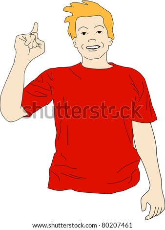 Guy in red shirt raises his hand to point out he has an idea. - stock photo