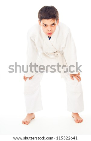 guy in the form of combat tired - stock photo