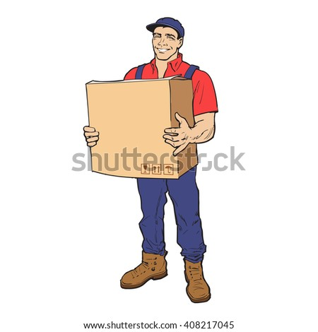 guy is full height with the box, man holding parcel, color illustration, sketch style hand-drawn to the concept of delivery of stuff, transportation of goods, moving to another house, delivery box - stock photo