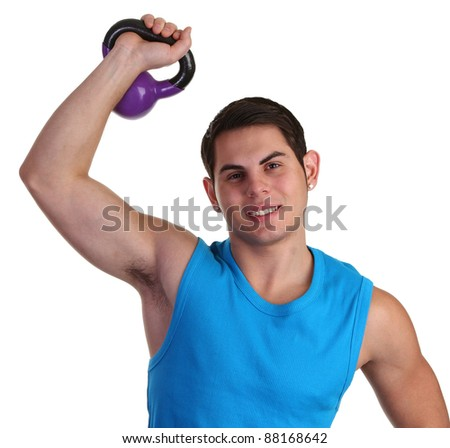 Guy lifting a heavy weight - stock photo