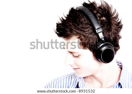 guy listening to music looking happy over white - high key