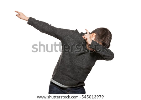 Guy making Dab, portrait in studio, isolated on white background