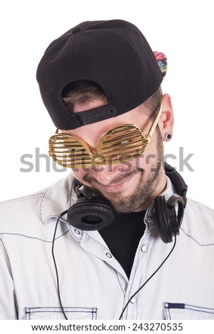 Guy making funny expression wearing black cap