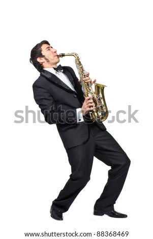 guy playing the saxophone over a white background - stock photo
