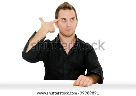 guy shoots himself - stock photo