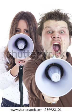Guy shouting using a megaphone