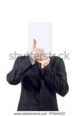 guy shows, good isolated on white background - stock photo