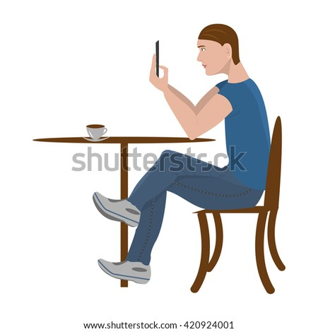 Guy sitting in cafe and chat on smartphone. Teenage boy using mobile phone. People, education, technology and colleg concept - happy student with smartphone in cafeteria Young man on  white background - stock photo