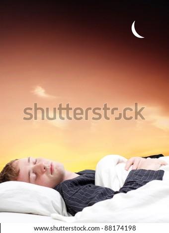 Guy sleeping - stock photo