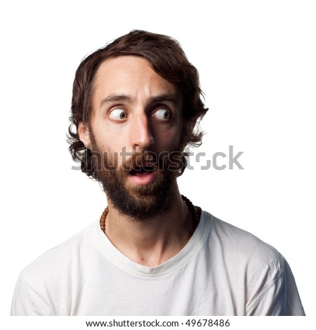 Guy stares to the left - stock photo