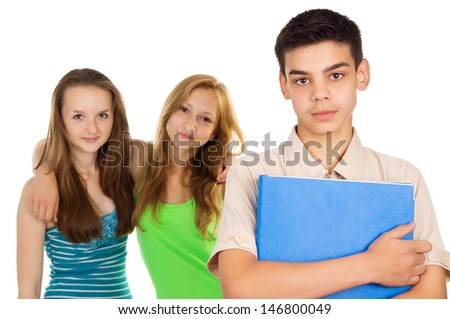 Guy student with her girlfriends - stock photo