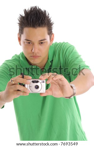 guy taking a photo vertical