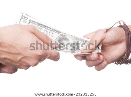 guy transfers to the girl her earned money. Us money in the hands. Easy money 24 - stock photo