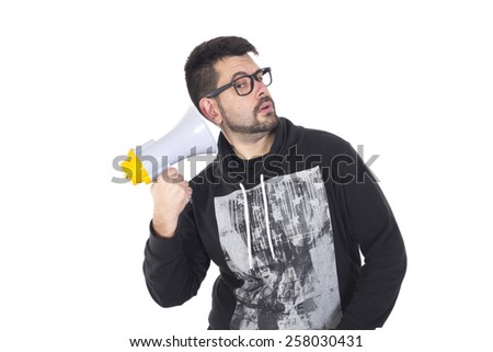Guy using a megaphone - stock photo
