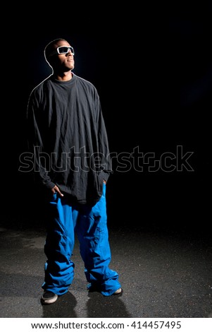 Guy Wearing Baggy Clothes - stock photo