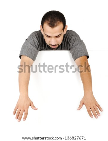 Guy with a blank sign - stock photo