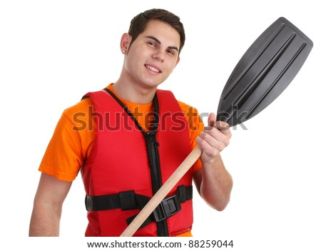 Guy with a lifejacket and a oar - stock photo