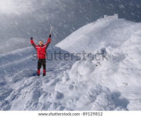 guy with an ice pick in the mountains in winter