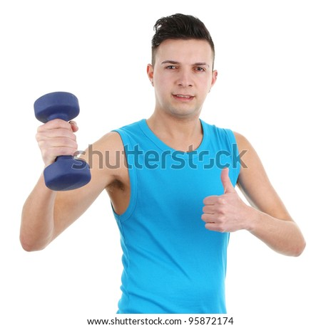 Guy with dumbell, isolated on white - stock photo