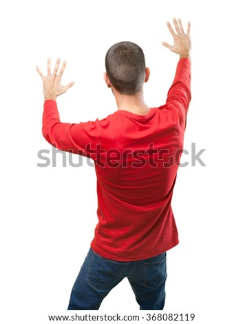 Guy with fear gesture - stock photo