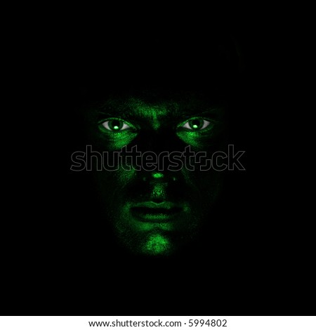 guy with green painted face