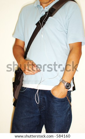 Guy with mp3 player  (high contrast) - stock photo