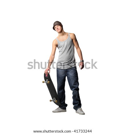 guy with skateboard - stock photo