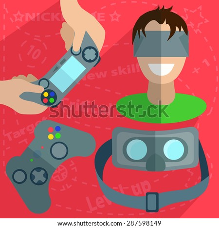 Guy with the head-mounted display, joystick in hand and separately, glasses virtual reality inside  into flat style with saturated background.  Illustration - stock photo